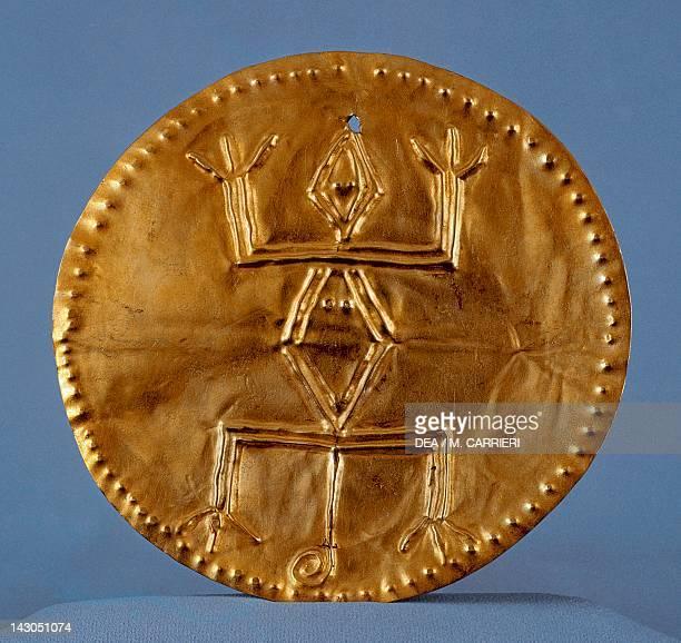 Pendant breastplate in gold leaf artifact originating from Calima PreColombian Calima Civilization 10th Century Bogotá Museo Del Oro