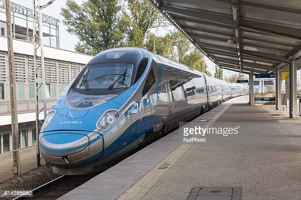 Pendolino train at Warsaw East Station in Warsaw Poland on 13 October 2016