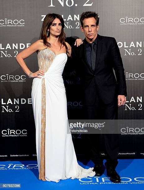 Penelope Cruz and Ben Stiller attend the Madrid Fan Screening of the Paramount Pictures film 'Zoolander No 2' at the Capitol Cinema on February 1...