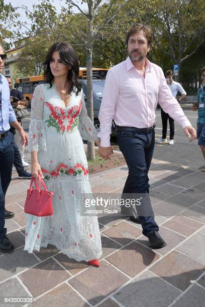 Penelope Cruz and Javier Bardem are seen during the 74th Venice Film Festival on September 6 2017 in Venice Italy