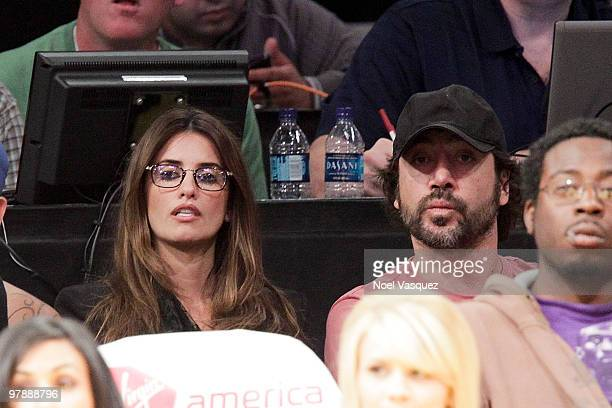 Penelope Cruz and Javier Bardem attend a game between the Minnesota Timberwolves and the Los Angeles Lakers at Staples Center on March 19 2010 in Los...