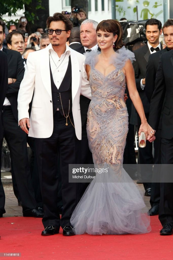 Penelope Cruz and Johnny Depp attend the 'Pirates of the Caribbean: On Stranger Tides' premiere during the 64th Cannes Film Festival at Palais des Festivals on May 14, 2011 in Cannes, France.
