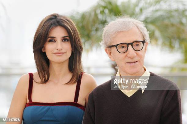AP OUT Penelope Cruz attends a photocall for alongside director Woody Allen in Cannes for Allen's film Vicky Cristina Barcelona at the Cannes Film...