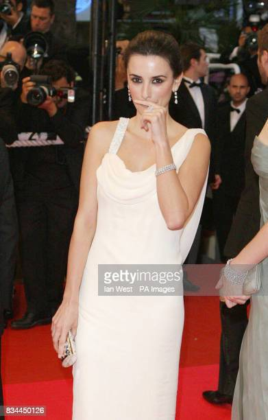 AP OUT Penelope Cruz attends the premiere for Woody Allen's Vicky Cristina Barcelona at the 61st Cannes Film Festival France