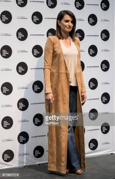 Penelope Cruz attends the Unoentrecienmil Foundation charity event against childhood leukemia at La Casa Encendida on April 24 2017 in Madrid Spain