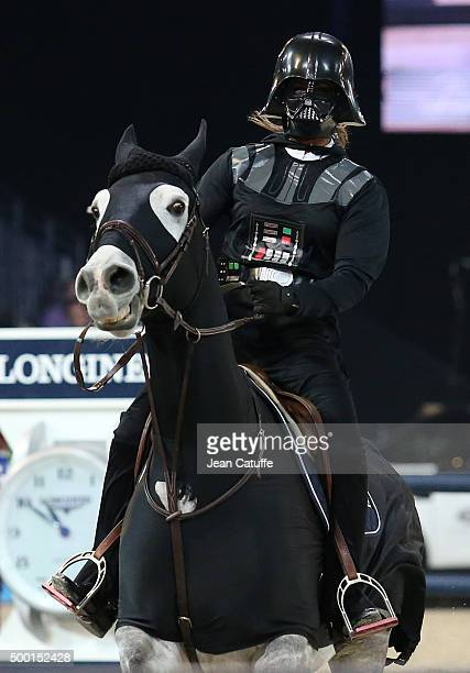 Penelope Leprevost of France rides as Darth Vader during the 'Style and Competition' show jumping charity event benefitting 'AMADE' on day three of...