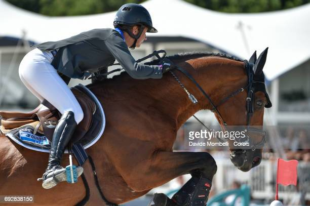 Penelope Leprevost of France riding Vagabond de la Pomme during the Longines Grand Prix Athina Onassis Horse Show on June 3 2017 in St Tropez France