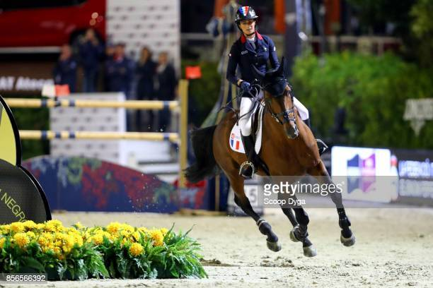Penelope LEPREVOST of France riding Vagabond de la Pomme during the Longines FEI Nations Cup Jumping Final at CSIO5 on September 30 2017 in Barcelona...