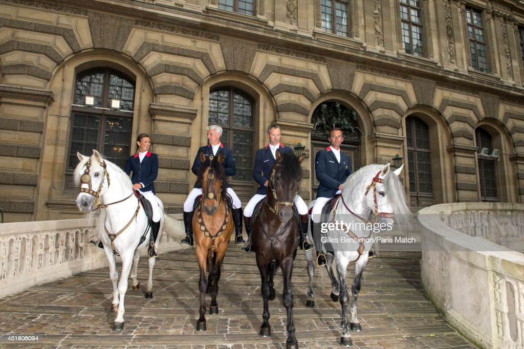 <a gi-track='captionPersonalityLinkClicked' href=/galleries/search?phrase=Penelope+Leprevost&family=editorial&specificpeople=5534219 ng-click='$event.stopPropagation()'>Penelope Leprevost</a> riding Nador, Roger-Yves Bost riding Taranto, Aymeric de Ponnat riding Kingo and Patrice Delaveau riding with Quichotteis photographed for Paris Match at the start of the Longines Global Champions Tour Paris Eiffel on June 26, 2014 in Paris, France.