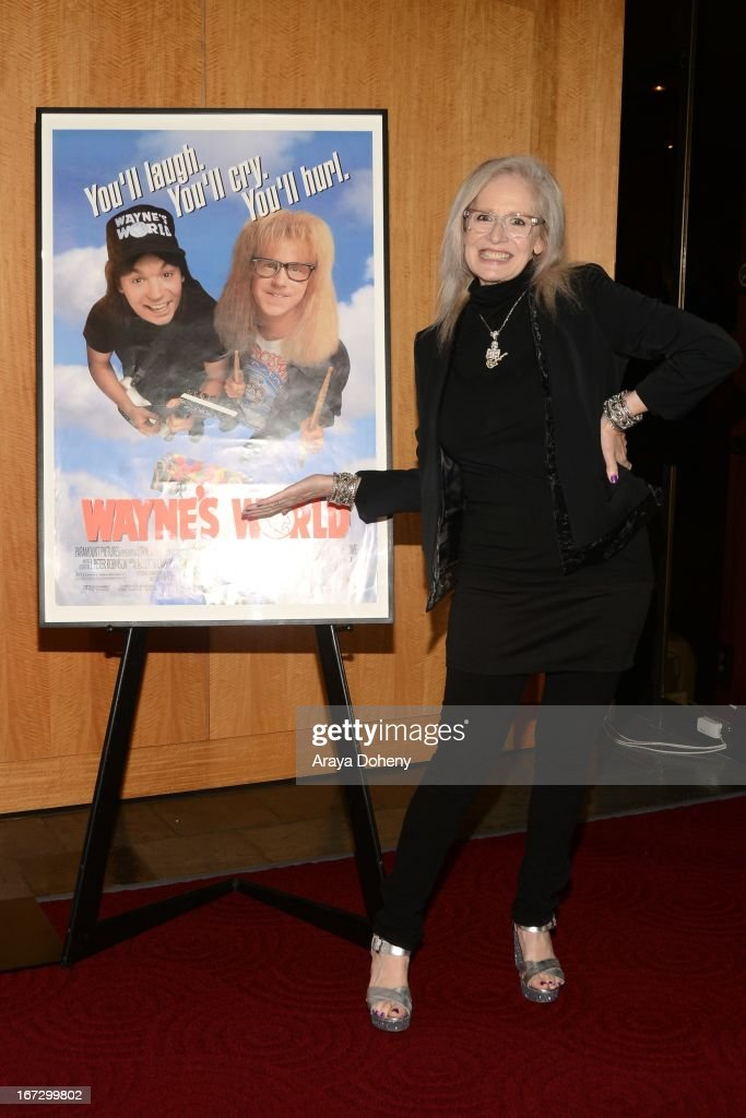 Penelope Spheeris attends the Academy of Motion Picture Arts and Sciences hosts a 'Wayne's World' reunion at AMPAS Samuel Goldwyn Theater on April 23, 2013 in Beverly Hills, California.