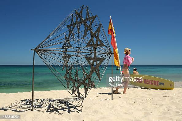 'Penelope's web' by artist Kevin Draper is seen at Sculpture By The Sea at Cottesloe Beach on March 6 2015 in Perth Australia