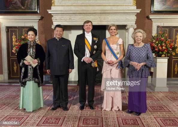 Peng Liyuan wife of Chinese President Xi Jinping Chinese President Xi Jinping King WillemAlexander of The Netherlands Queen Maxima of The Netherlands...