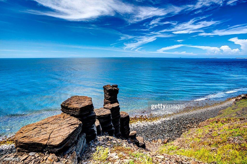 Penghu Basalt Rock Rormations in Taiwan
