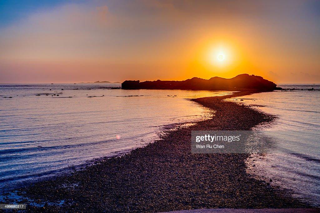 Penghu sandbar at sunrise