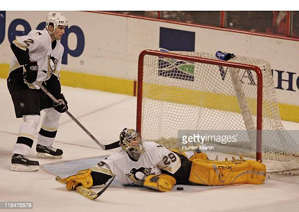 Penguins goalie MarcAndre Fleury makes a pad save in the second period at the Wachovia Center in Philadelphia Pennsylvania on January 23 2006