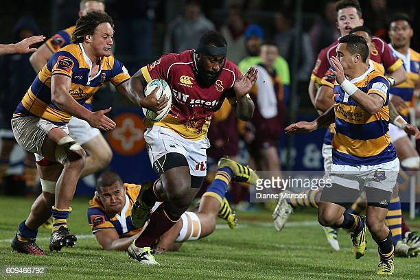 Peni Ravai of Southland makes a break during the Mitre 10 Cup round 6 match between Southland and Bay of Plenty at Rugby Park Stadium on September 21...