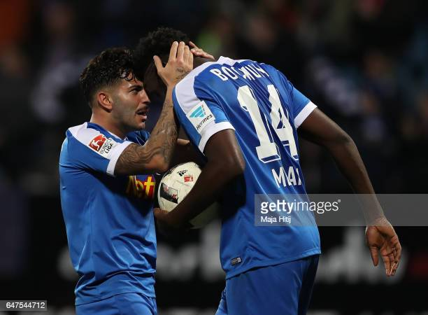 Peniel Kokou Mlapa of Bochum celebrates scoring his goal during the Second Bundesliga match between VfL Bochum 1848 and Fortuna Duesseldorf at...