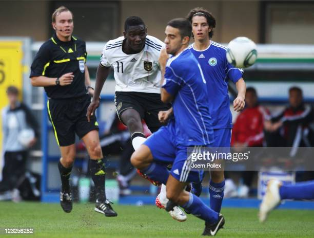 Peniel Mlapa of Germany scores his team's fourth goal during the 2013 UEFA European Under21 Qualifier Group 1 match between Germany and San Marino at...