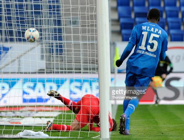 Peniel Mlapa of Hoffenheim is scorig his teams first goal during the Bundesliga match between TSG 1899 Hoffenheim and FC Augsburg at RheinNeckarArena...