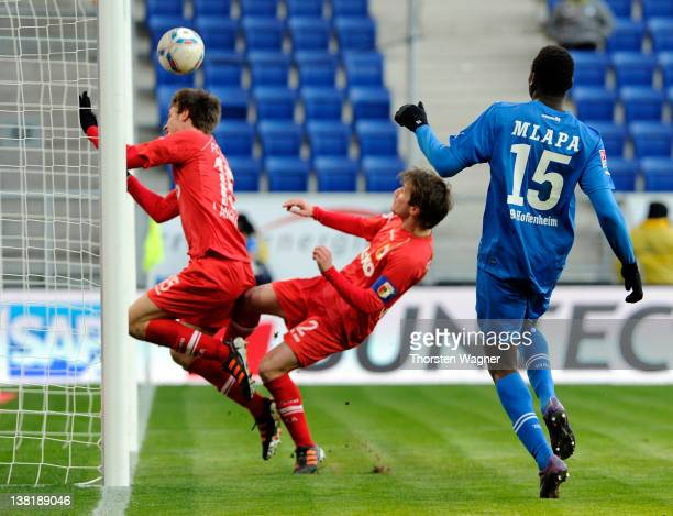Peniel Mlapa of Hoffenheim is scoring his teams first goal during the Bundesliga match between TSG 1899 Hoffenheim and FC Augsburg at...