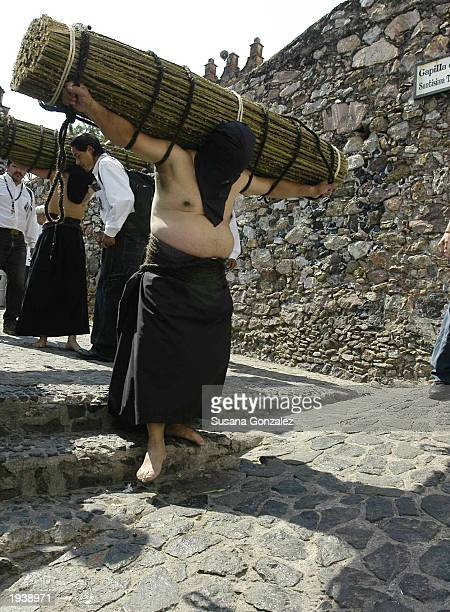 A penitent carries more than 45 kilos of thorny blackberry canes on his back during the day's procession and celebrations of the Holy Week April 18...