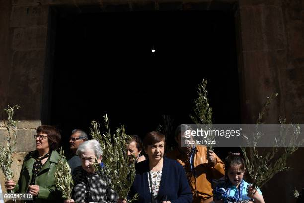 Penitents pictured during the procession of Palm Sunday in Almazán north of Spain