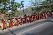 Penitents start their panata or vow in the morning as a form of penance during holy week on March 28 2013 in Pampanga Philippines The carrying of a...