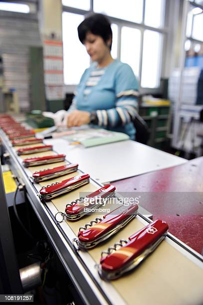 Penknives are assembled at the Victorinox AG Swiss army knife factory in Ibach Switzerland on Thursday Jan 20 2011 Victorinox founded in 1884 in the...