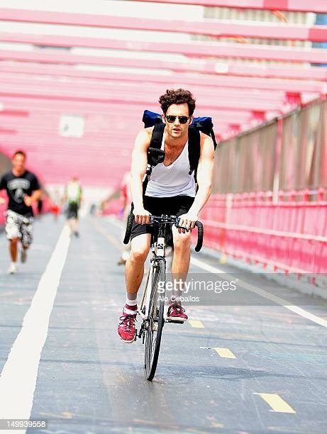 Penn Badgley is seen at the Williamsburg Bridge on August 7 2012 in New York City