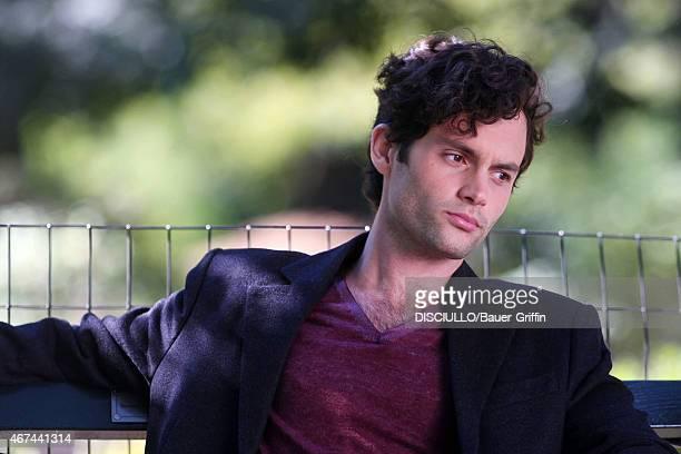 Penn Badgley is seen on set of 'Gossip Girl' on September 24 2012 in New York City