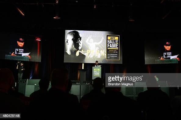 Penn gives his acceptance speech as he is inducted into the UFC Hall of Fame at the UFC Fan Expo in the Sands Expo and Convention Center on July 11...