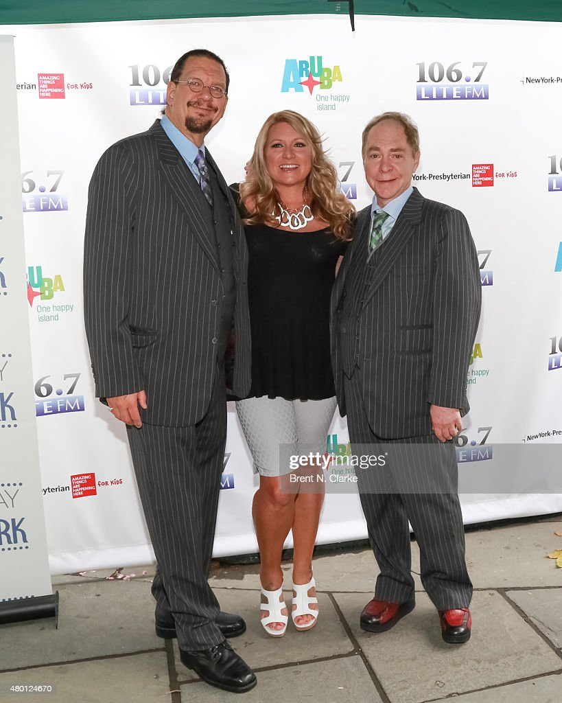 Penn Jilette 1067 Lite FM onair personality Delilah and Raymond Teller attend 1067 Lite FM's Broadway In Bryant Park 2015 held at Bryant Park on July...