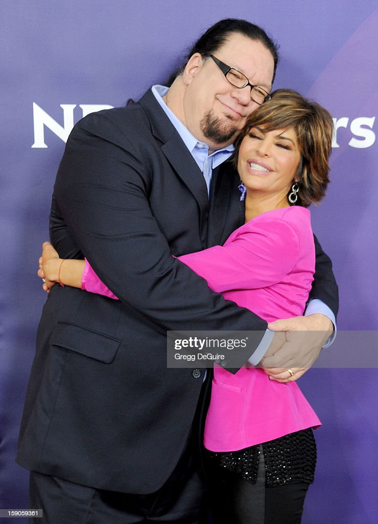 Penn Jillette and actress Lisa Rinna pose at the 2013 NBC Universal TCA Winter Press Tour Day 1 at The Langham Huntington Hotel and Spa on January 6, 2013 in Pasadena, California.