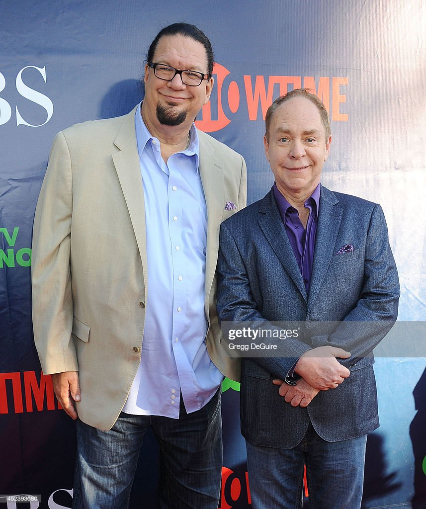 Penn Jillette and Raymond Teller arrive at the 2014 Television Critics Association Summer Press Tour CBS CW And Showtime Party at Pacific Design...