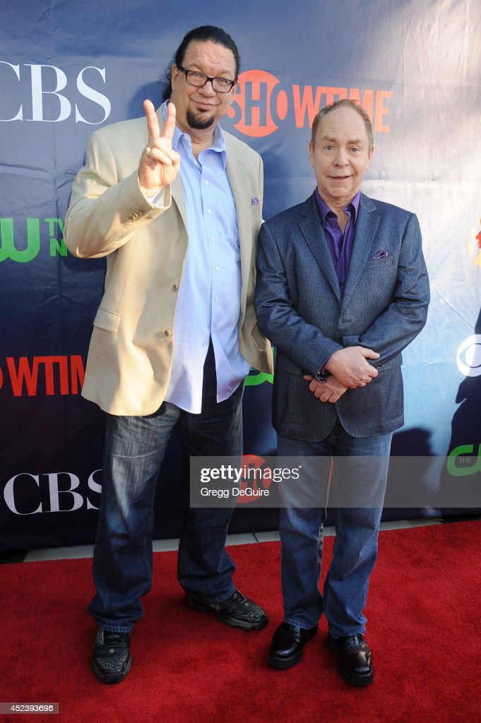 <a gi-track='captionPersonalityLinkClicked' href=/galleries/search?phrase=Penn+Jillette&family=editorial&specificpeople=547802 ng-click='$event.stopPropagation()'>Penn Jillette</a> and Raymond Teller arrive at the 2014 Television Critics Association Summer Press Tour - CBS, CW And Showtime Party at Pacific Design Center on July 17, 2014 in West Hollywood, California.