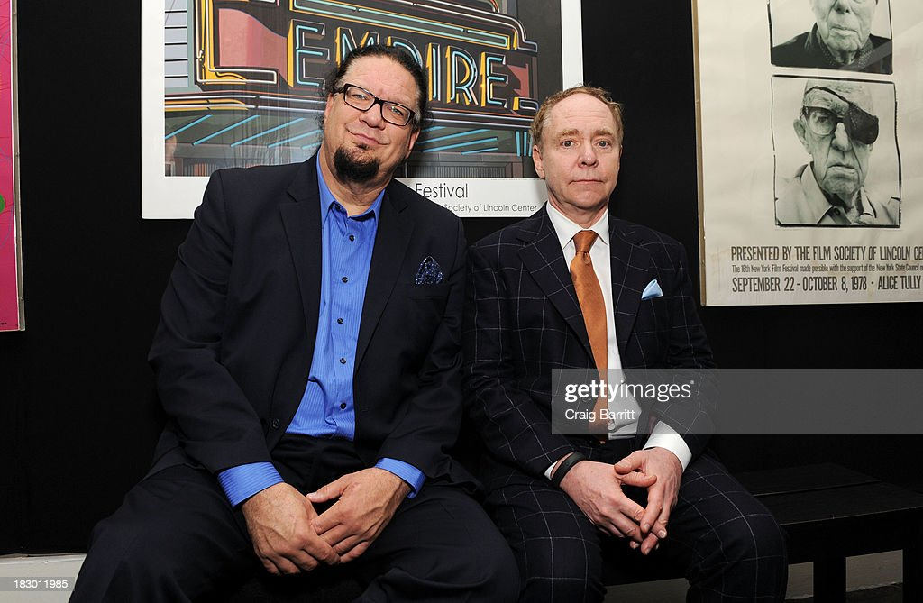 Penn Jillette and Raymond Teller attend the 'Tim's Vermeer' premiere during the 51st New York Film Festival at Furman Gallery on October 3 2013 in...