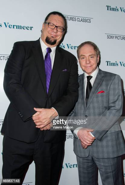 Penn Jillette and Teller arrives at the Premiere Of Sony Pictures Classics' 'Tim's Vermeer' at Pacific Design Center on January 29 2014 in West...