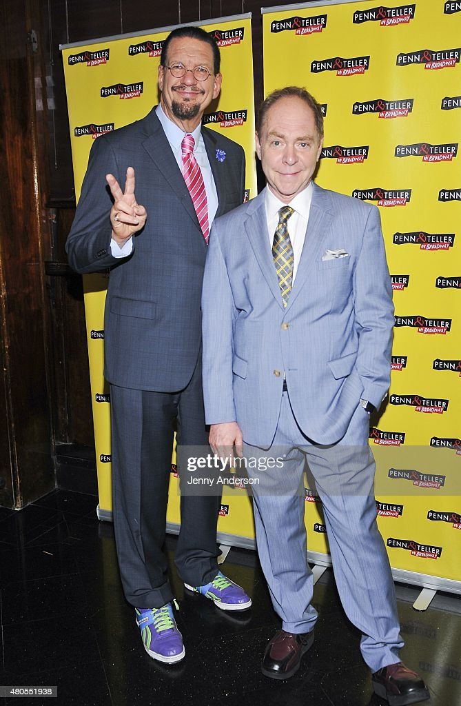 Penn Jillette and Teller attend 'Penn Teller On Broadway' opening night party at Sardi's on July 12 2015 in New York City