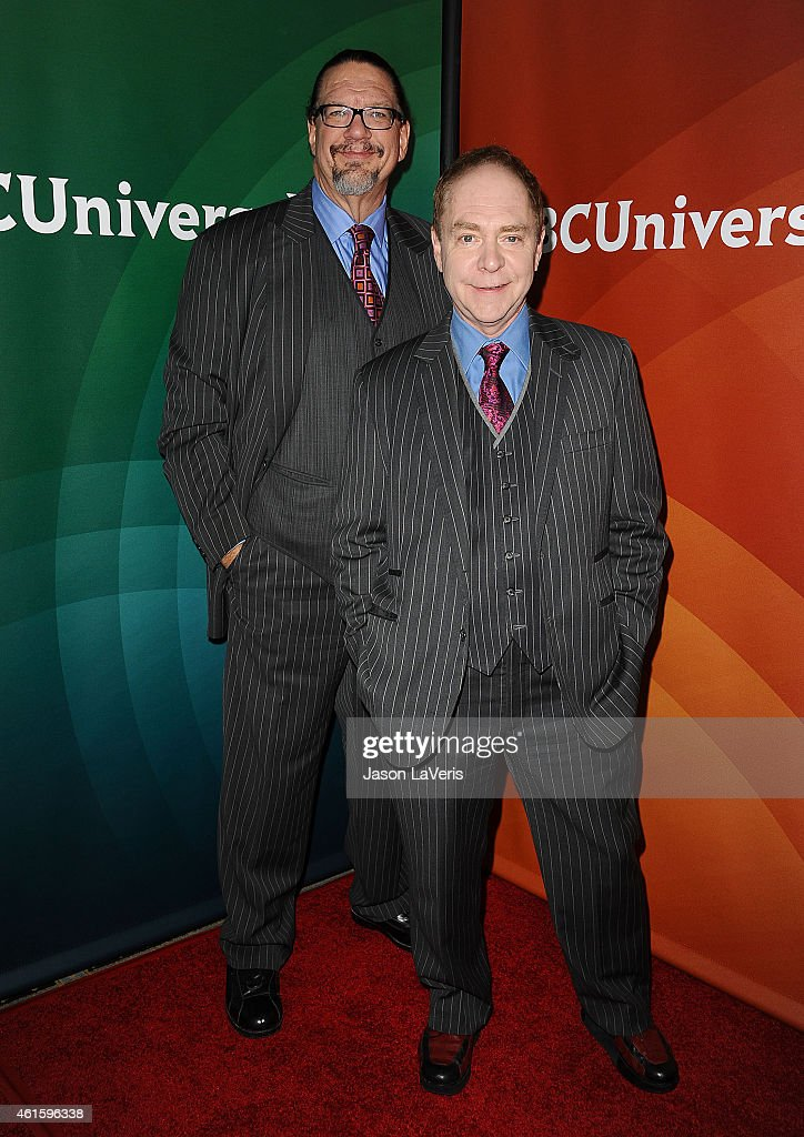 Penn Jillette and Teller attend the NBCUniversal 2015 press tour at The Langham Huntington Hotel and Spa on January 15 2015 in Pasadena California