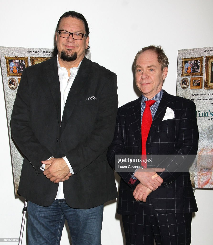 Penn Jillette and Teller attend the 'Tim's Vermeer' special screening at Museum of Modern Art on January 28 2014 in New York City