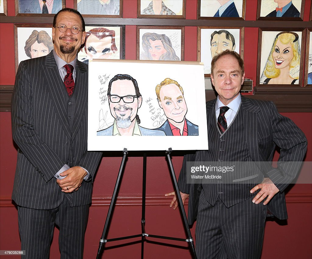 Penn Jillette and Teller attend with their Sardi's Caricature unveiling at Sardi's on July 1 2015 in New York City