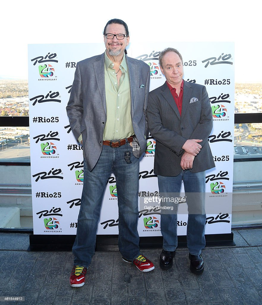 Penn Jillette and Teller of the comedy/magic team Penn Teller arrive at the Voodoo Lounge at the Rio Hotel Casino during the resort's silver...
