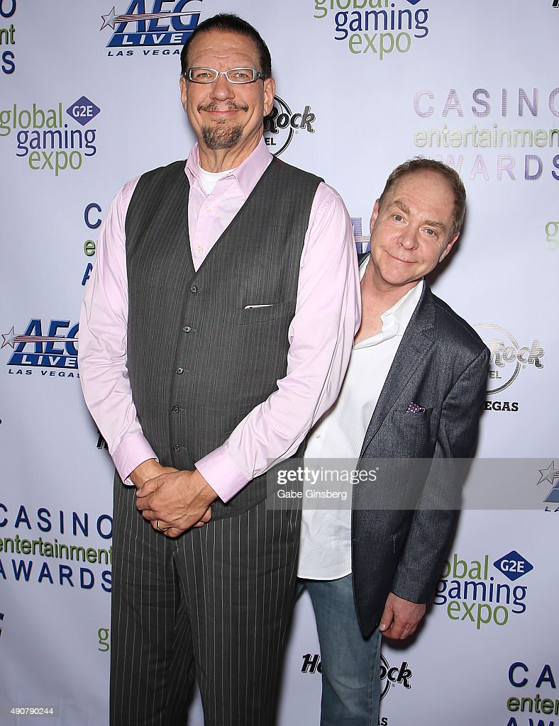 Penn Jillette and Teller of the comedy/magic team Penn Teller attend Global Gaming Expo's Casino Entertainment Awards at Vinyl inside the Hard Rock...