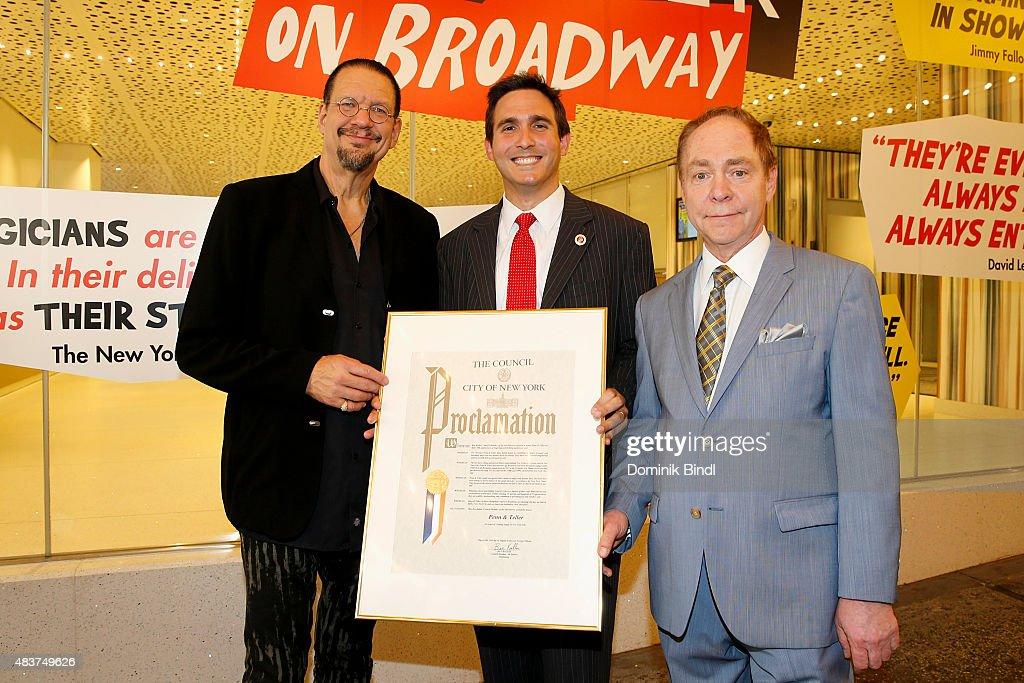 Penn Jillette Ben Kallos and Teller presented with Proclamation from New York City Council at Marquis Theatre on August 12 2015 in New York City