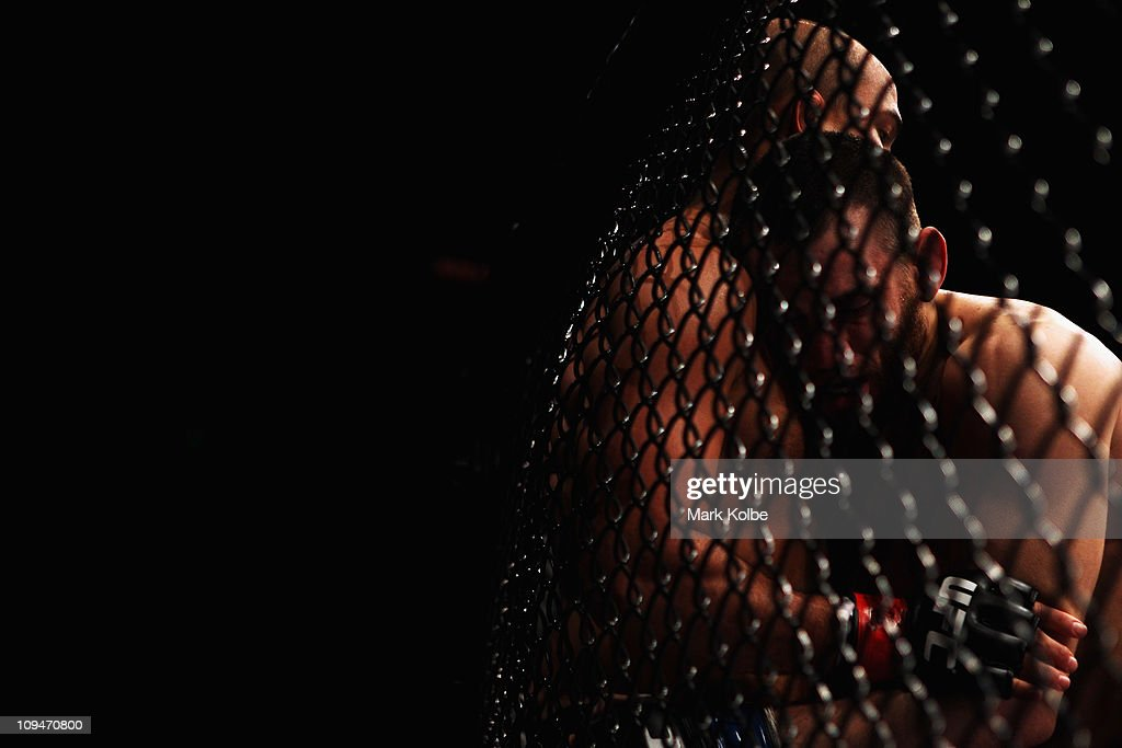 Penn of the USA is pinned to the cage by Jon Fitch of the USA during their welterweight bout part of UFC 127 at Acer Arena on February 27 2011 in...