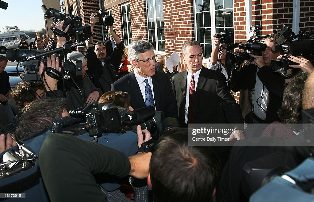 Penn State athletic director Tim Curley leaves the office of District Judge William Wenner on Monday, November 7, 2011, in Harrisburg, Pennsylvania. Curley and former Penn State vice president Gary Schultz surrendered on charges that they failed to report suspected child-sexual abuse by a former coach and committed perjury in their related grand jury testimony. The pair is accused of failing to alert police to complaints that former assistant football coach Jerry Sandusky had sexually abused boys. They are also charged with lying to a state grand jury investigating the former defensive coordinator.