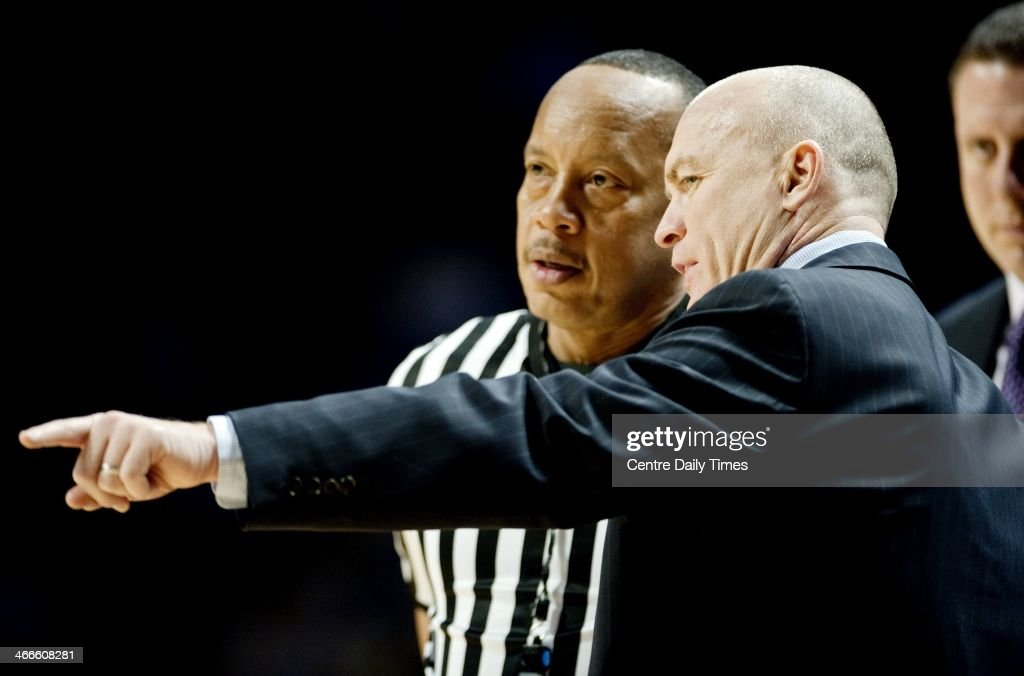 Penn State basketball coach Patrick Chambers talks to a referee during a college basketball game against Purdue on Sunday, Feb. 2, 2014, at the Bryce Jordan Center in State College, Pa. The Nittany Lions defeated the Boilermakers, 79-68.