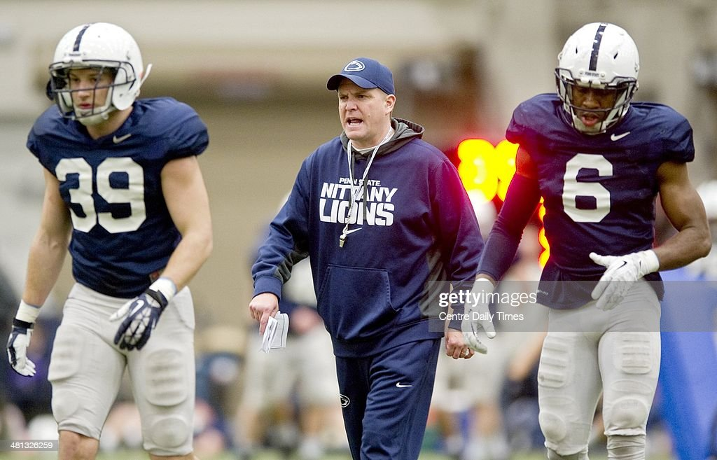 Penn State defensive coordinator and safeties coach Bob Shoop yells to the players during spring practice in Holuba Hall in State College, Pa., Saturday, March 29, 2014.