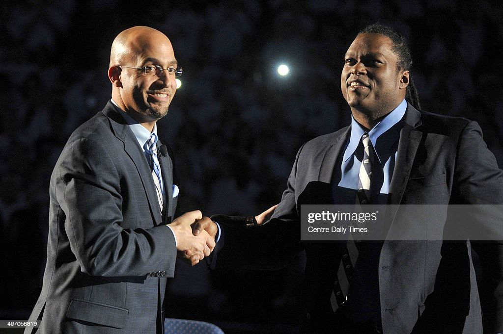 Penn State football coach James Franklin greets former player LaVar Arrington on Wednesday, Feb. 5, 2014, at Beaver Stadium in State College, Pa.