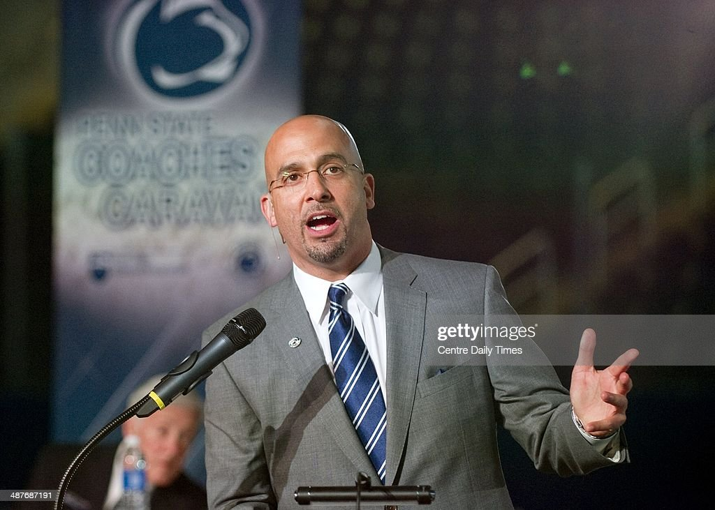 Penn State football coach James Franklin speaks during the Coaches Caravan at Pegula Ice Arena in State College, Pa., Thursday, May 1, 2014.
